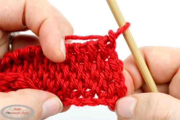 close up fo crocheted Tunisian Full Stitch