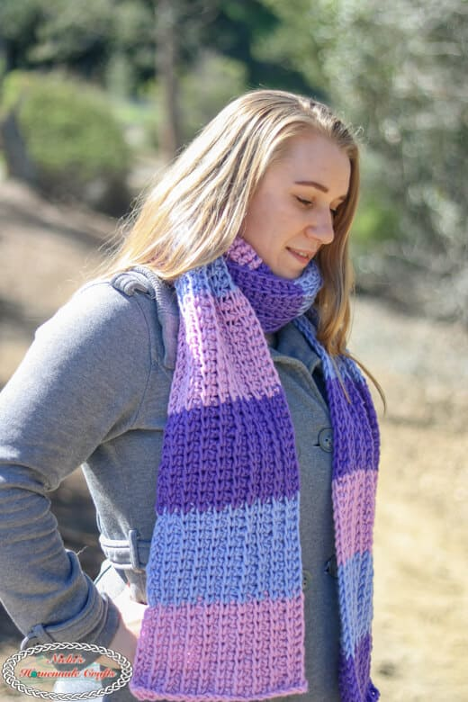 Bulky yarn and super long scarf Tri-Color Tunisian - Free Crochet Pattern