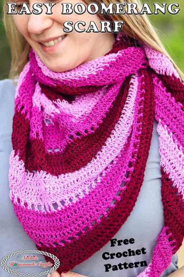 Easy Crochet Boomerang Scarf Free Pattern Pin