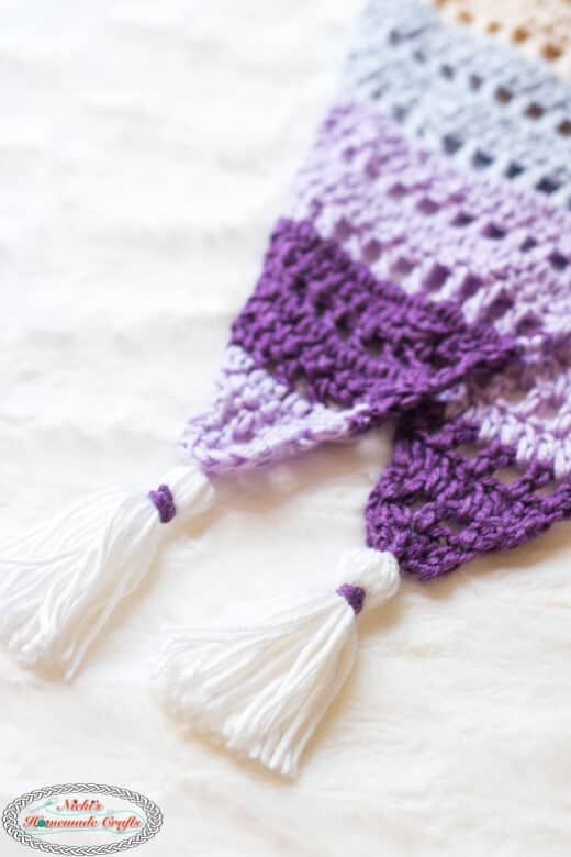 Diamond Scarf with tassels Crochet Pattern