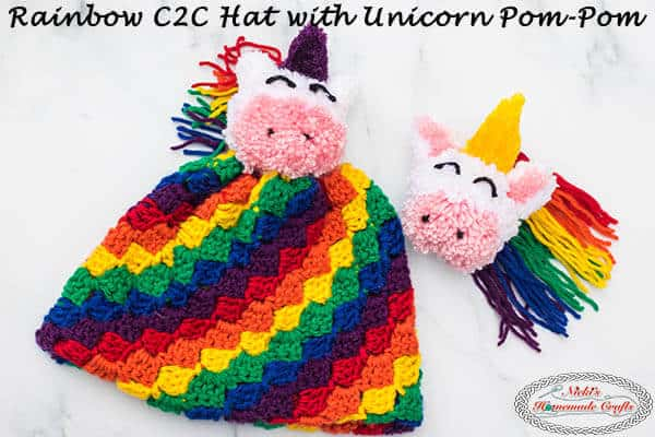Rainbow C2C hat with Unicorn Pom-Pom Free Crochet Pattern