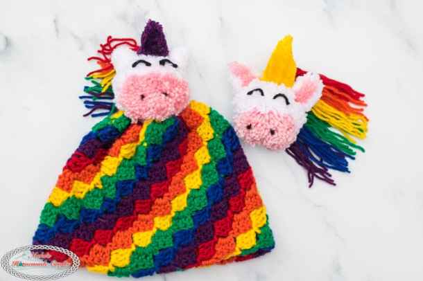 Rainbow C2C hat with Unicorn Pom-Pom