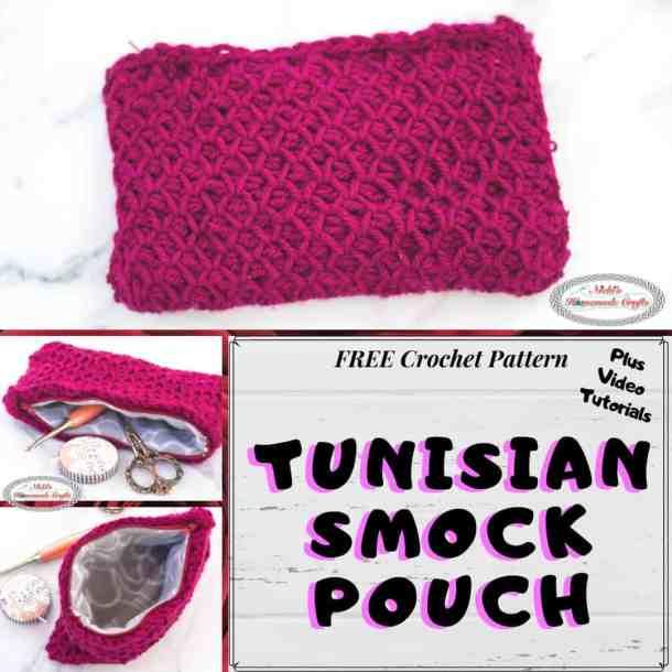 Easy Crochet Zipper Pouch - Tunisian Smock Pouch - Free Crochet Pattern