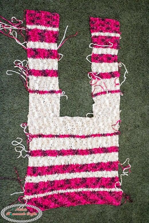 Striped Velvet Cardigan front and back panel