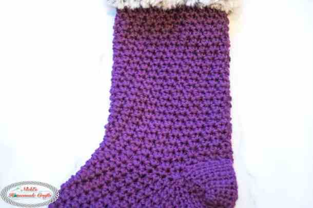 Faux Fur Christmas Stocking Free Crochet Pattern middle section