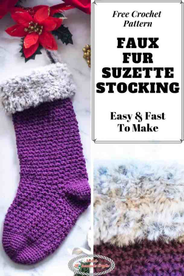 Faux Fur Suzette Christmas Stocking Crochet Pattern