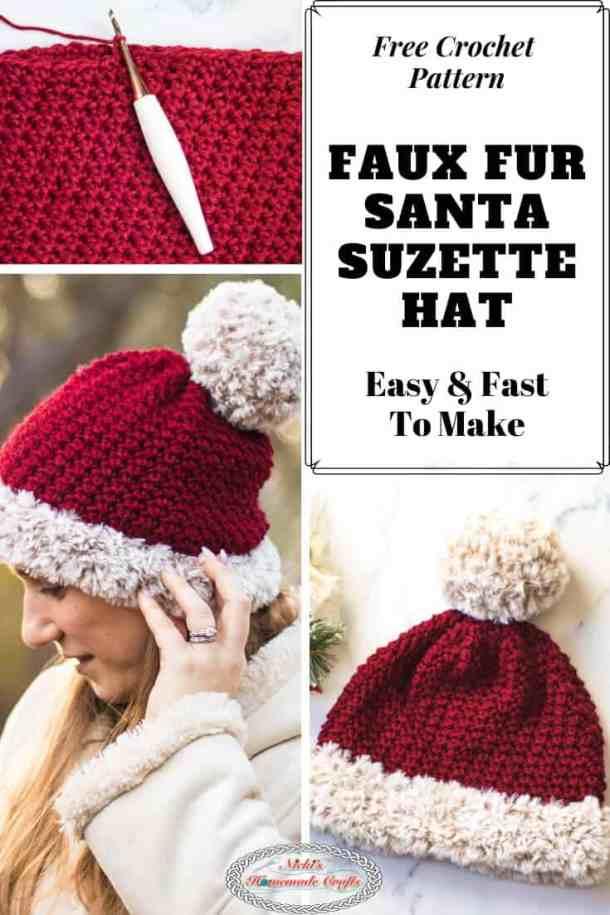Faux Fur Santa Suzette Hat Crochet Pattern Free