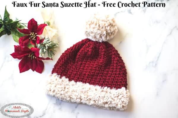 Faux Fur Santa Suzette Hat Crochet Pattern for free