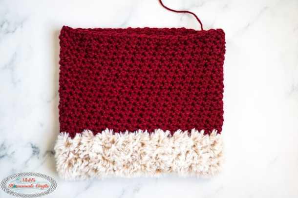 Faux Fur Santa Suzette Hat - Free Crochet Pattern unfinished