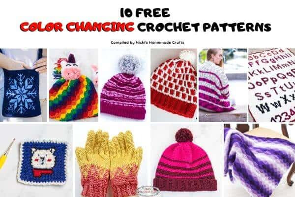 10 Free Crochet Patterns with Color Changes