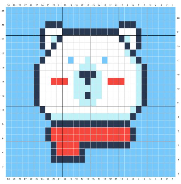 Polar Bear Washcloth Tapestry Crochet Graph