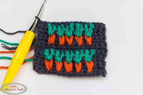 2 rows of the Carrot stitch crocheted