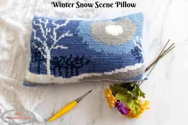 Easy Winter Snow Scene Pillow Crochet Pattern