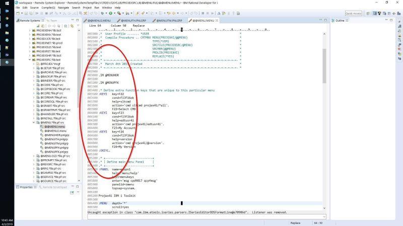 Edit UIM MENU with IBM i RDI 2