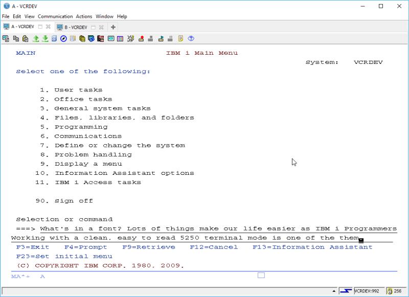 IBM i ACS 5250 EMULATOR FONT - and other ridiculous mumbo jumbo 7