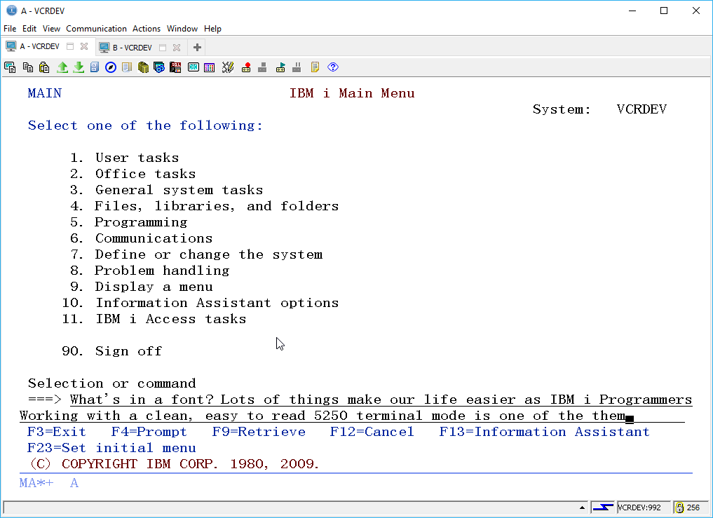 IBM i ACS 5250 EMULATOR FONT - and other ridiculous mumbo jumbo