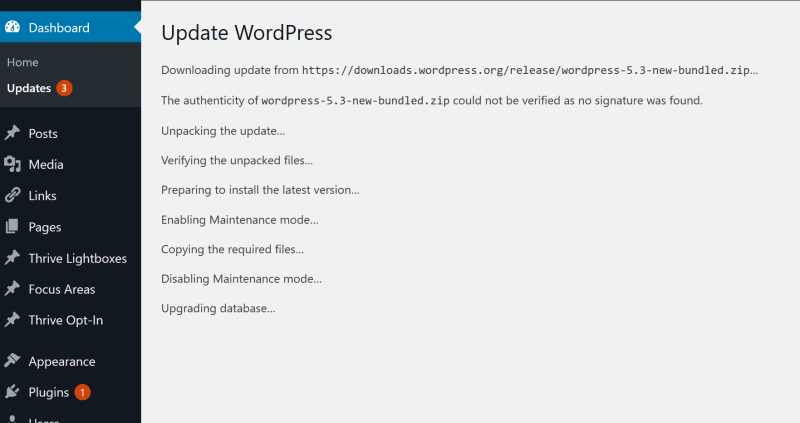 Wordpress 5.3 upgrade error with Thrive Architect 3