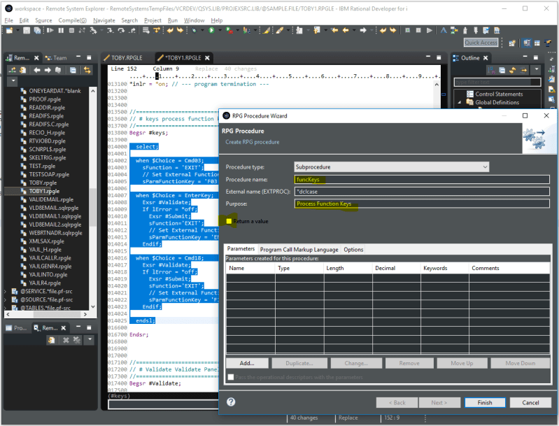 Second Look: IBM RDi Extract Procedure Refactoring feature 2