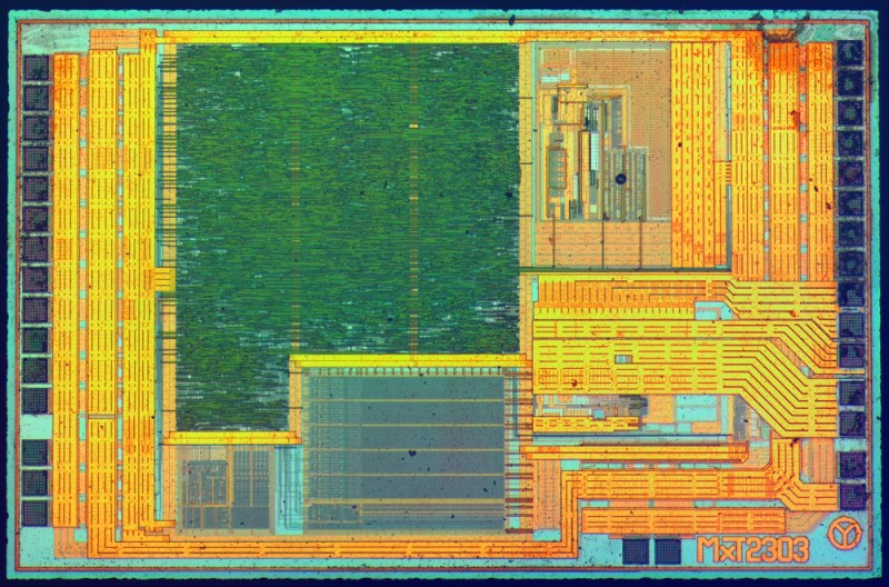 Here are some views of microchips taken after dangerously opening up the chip packages - danger and beauty go hand-in-hand with ICs.