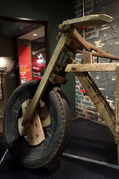 Wooden Motorcycle by Alvin Smallwood, made from scrap wood