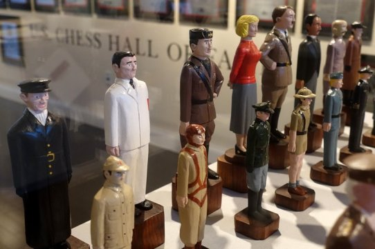 World War II themed chess set | Allied Powers ~ King: President Franklin D Roosevelt, Queen: First Lady Eleanor Roosevelt, Bishops: Soviet Premier Joseph Staline and Prime Minister Winston Churchill, Knights: Charles de Gaulle, leader of the Free French Forces, and Generalissimo Chiang Kai-Shek, Rooks: General Dwight D. Eisenhower and Field Marshall Bernard Montgomery | Axis Powers ~ King: Adolf Hitler, Queen: Eva Braun, Bishops: Benito Mussolini and Emperor Hirohito, Knights: General Hideki Tojo and Hermann Goering, Rooks: Field Marshall Erwin Rommel and Admiral Karl Dönitz