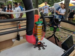 """""""Cocoa Press ia a 3D printer that prints in chocolate. It features a pneumatic syringe, milled aluminum extruder and a chocolate cooling system. Insert chocolate and Cocoa Press will make you a custom dessert for your event, a gift to snack on."""""""