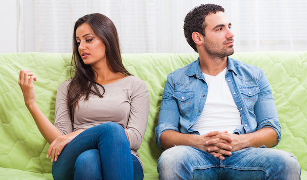 Couple unhappy together