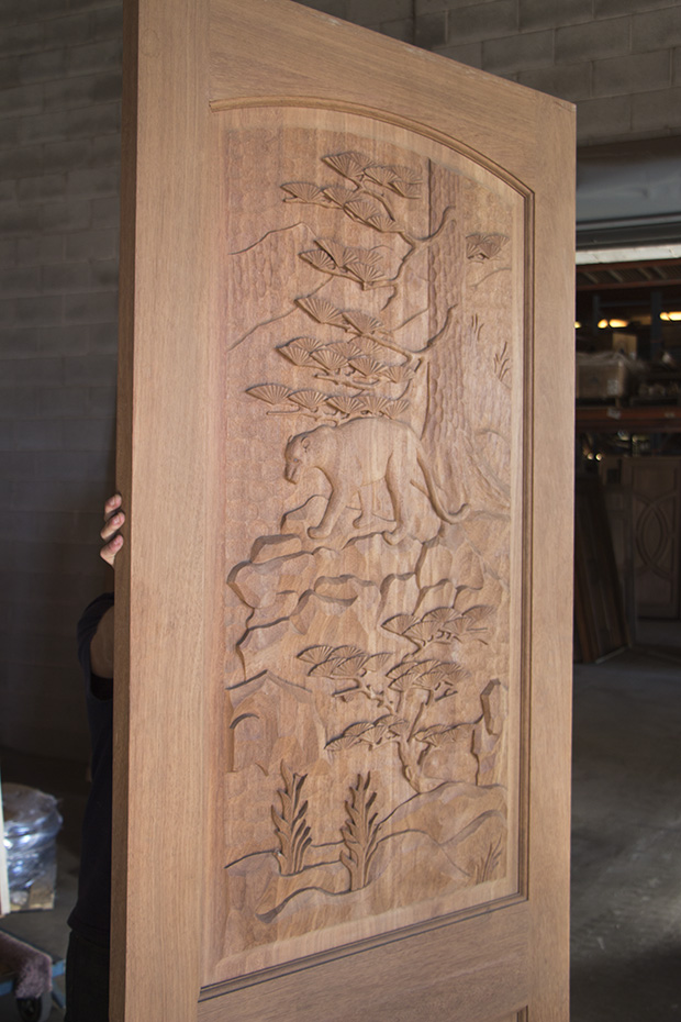 Mountain Lion Carved Door