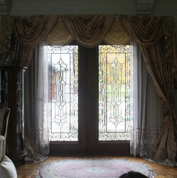 mahogany patio doors with beveled glass