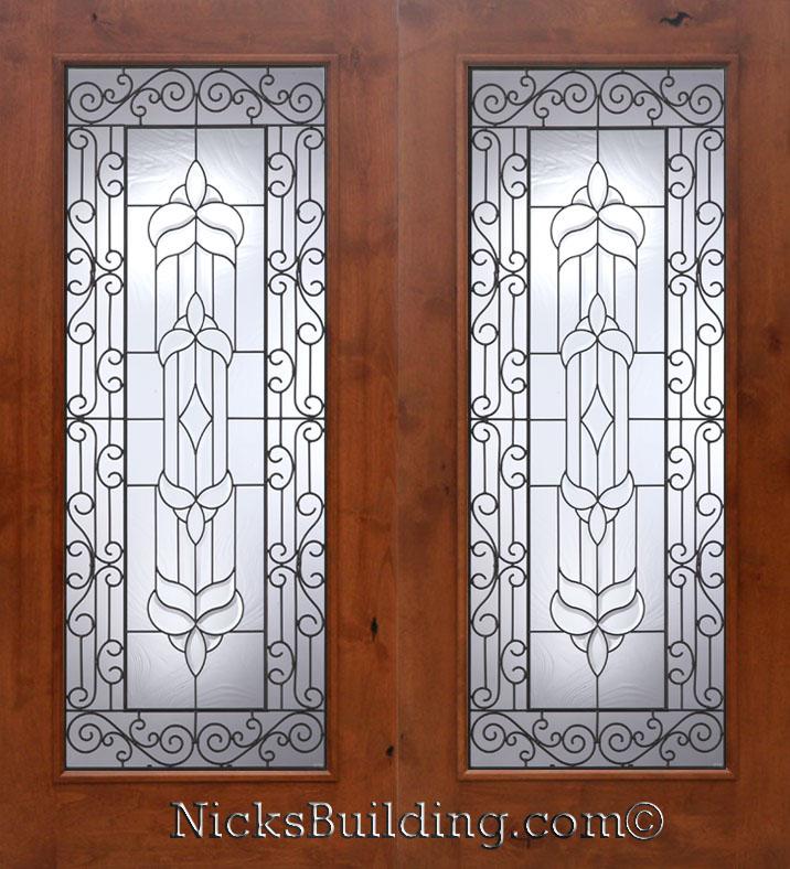 knotty alder wood patio doors with
