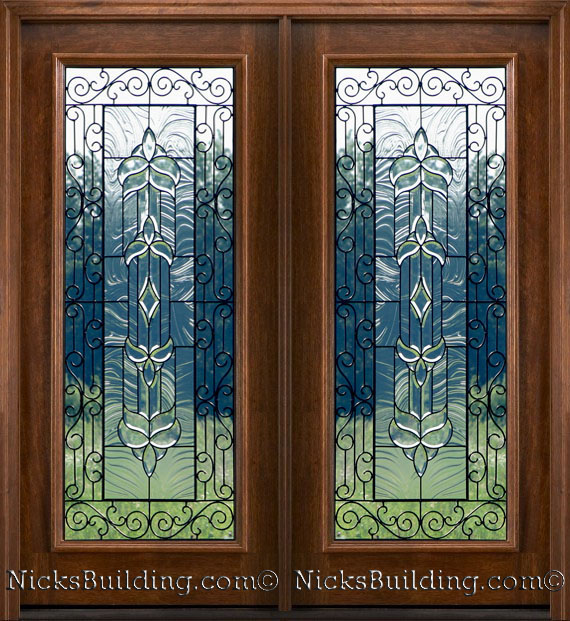 Mahogany Patio Doors With Beveled Glass And Wrought Iron