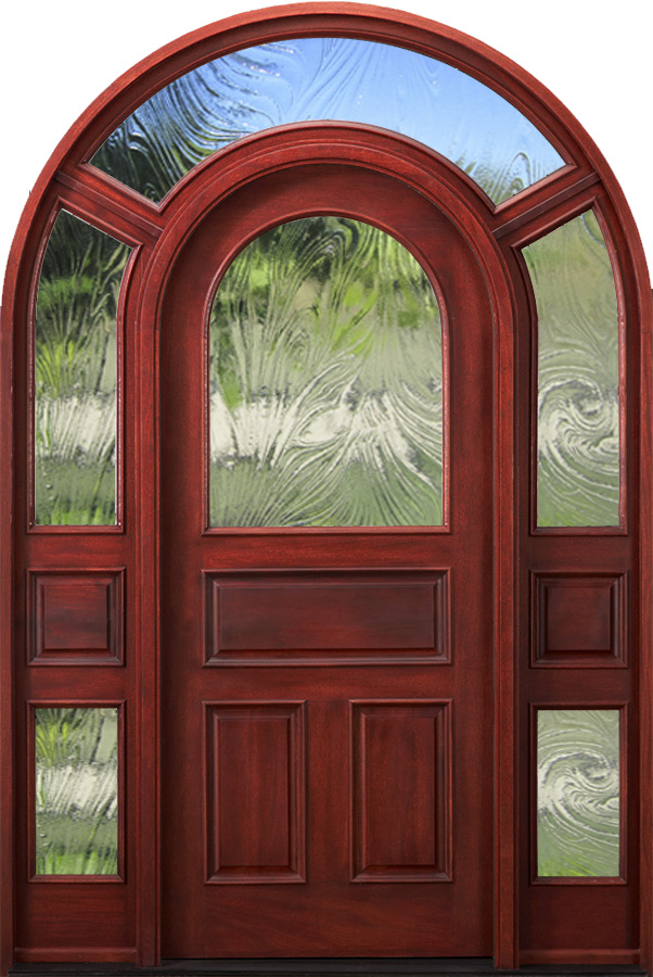 Arched Top Glass Exterior Doors With Surround Model 3003