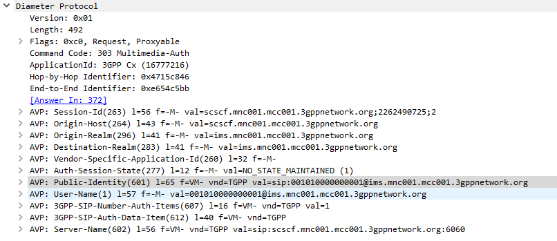 Screenshot of packet capture of Diameter Multimedia-Auth-Request (Diameter Command Code 303) used for IMS authentication