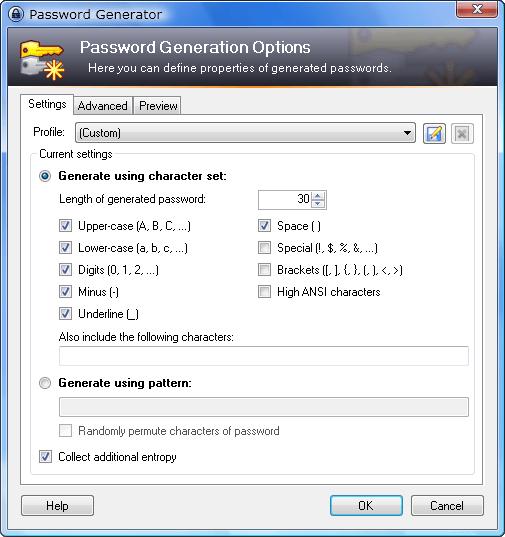 generator dialog