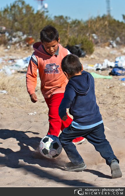 Juarez, Mexico. Playing soccer