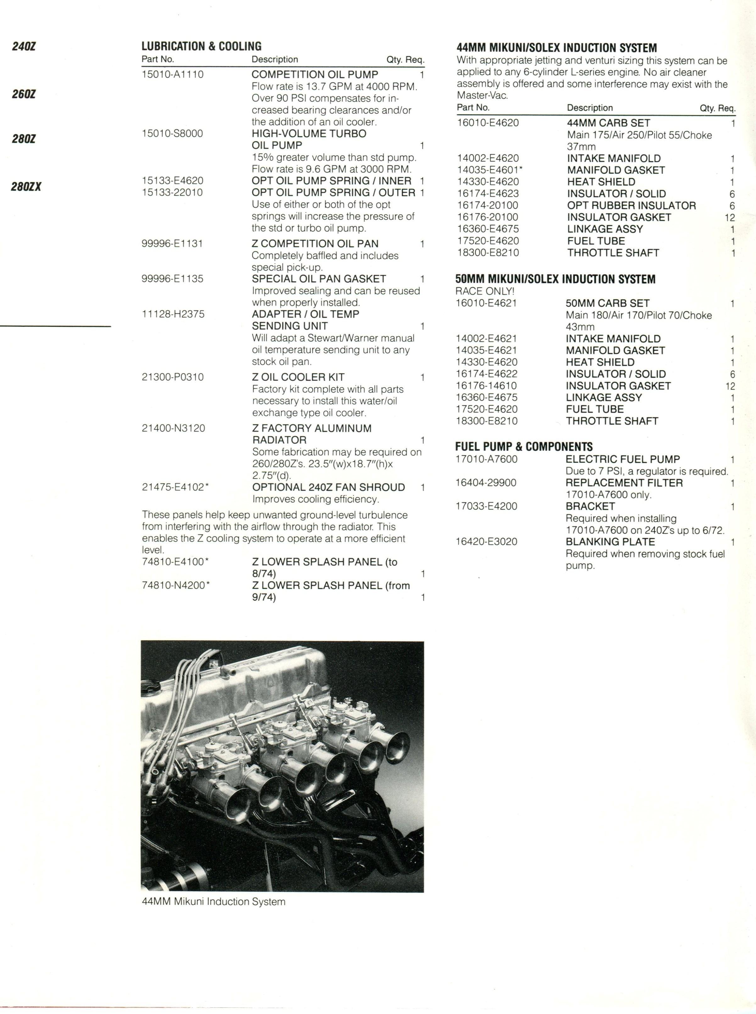 Nissan Competition Parts Catalog