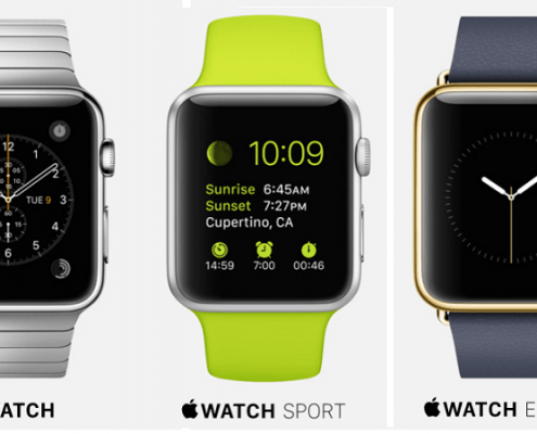 Tre modelli dell'Apple Watch