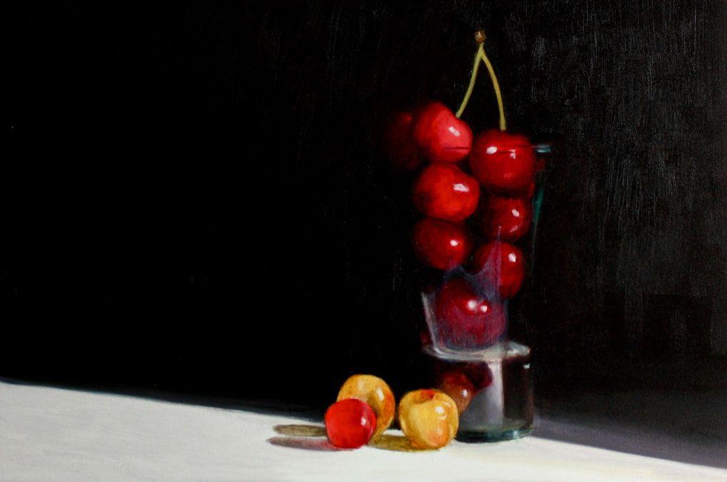 Cherries in a shot glass