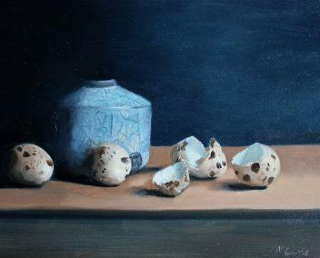 Quail eggs with raku pot