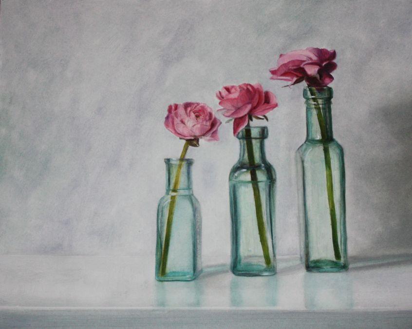 Pink flowers in Vintage Bottles
