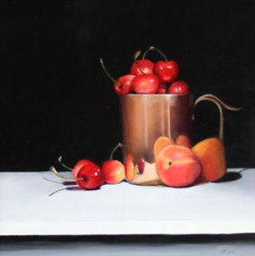 Cherries and apricots with a copper pot