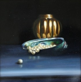 still life oil painting gold pot pearls shell