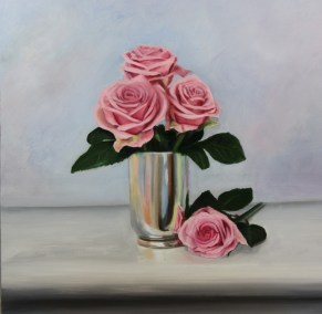 Pink Roses in a silver vase