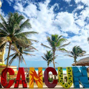 Cancun beach sign, Mexico