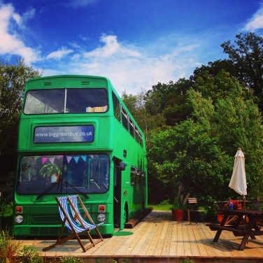 The Big Green Bus is one of my unique places to stay in the UK