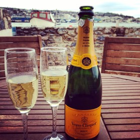 Champagne at the beach hut in Shaldon