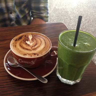 Having a coffee and smoothie in Byron Bay, Australia