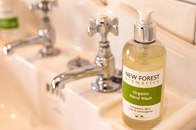 An image of New Forest aromatics hand wash in The Snug bathroom