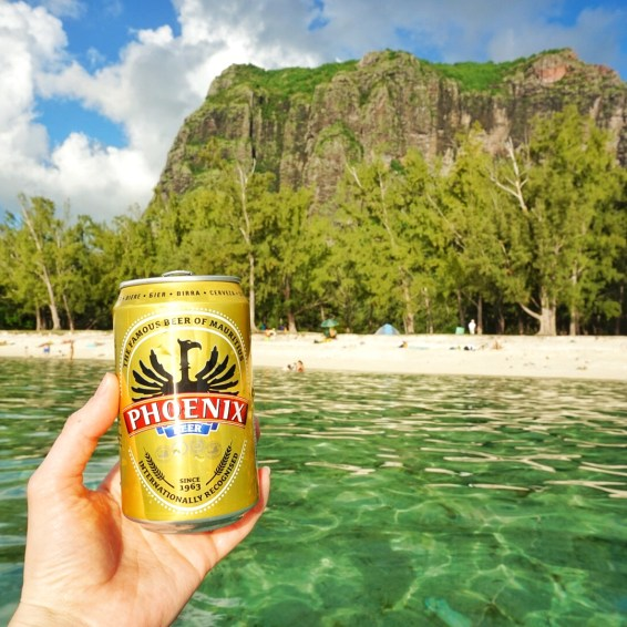Drinking beer on the beach in Le Morne