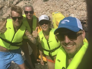 Kayaking selfie on Illa de l'Aire Menorca.